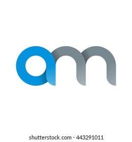 initial letter am modern linked circle round lowercase logo blue gray