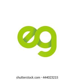initial letter eg modern linked circle round lowercase logo green