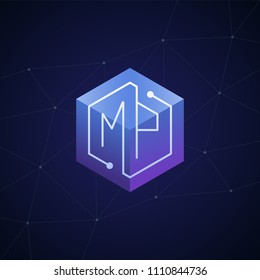 Initial letter MP, block chain, looping mono line circuit letter on hexagon cube logo, blue magenta gradient color on black blue network background