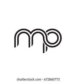 Initial letter mp, linked outline rounded lowercase, monogram black