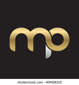 initial letter mp linked round lowercase logo gold silver black background