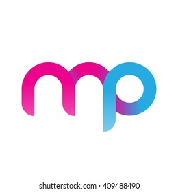 initial letter mp linked round lowercase logo pink blue purple