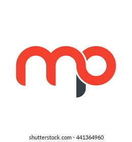 initial letter mp linked round lowercase logo red