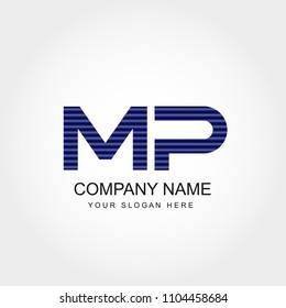 Initial Letter MP Logo Vector Design