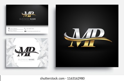 initial letter MP logotype company name colored gold and silver swoosh design. Vector sets for business identity on white background.