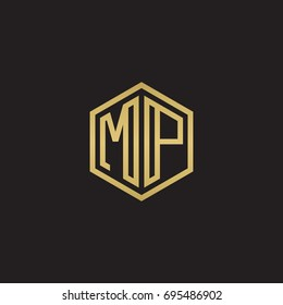 Initial letter MP, minimalist line art hexagon logo, gold color on black background