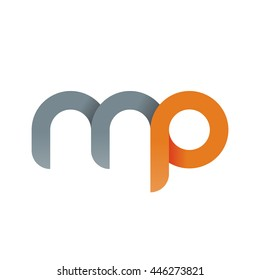initial letter mp modern linked circle round lowercase logo orange gray
