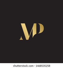 Initial letter mp uppercase modern logo design template elements. Gold letter Isolated on black  background. Suitable for business, consulting group company.