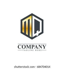 Initial Letter MQ Hexagonal Design Logo