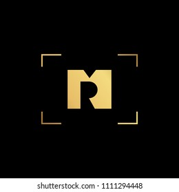Initial letter MR RM minimalist art monogram shape logo, gold color on black background