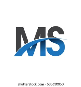 initial letter MS logotype company name colored blue and grey swoosh design. vector logo for business and company identity