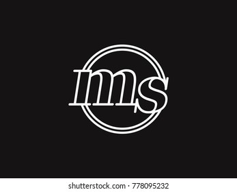 initial letter ms lowercase outline inside the circle logo template white on black background
