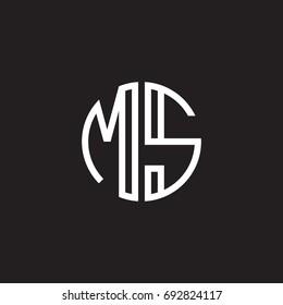 Initial letter MS, minimalist line art monogram circle shape logo, white color on black background