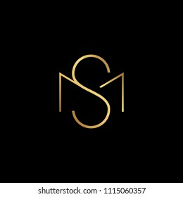 Initial letter MS SM minimalist art monogram shape logo, gold color on black background