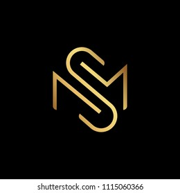 Initial letter MS SM minimalist art monogram shape logo, gold color on black background