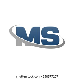 initial letter MS swoosh ring company logo blue gray