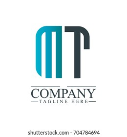 Initial Letter MT Linked Box Design Logo