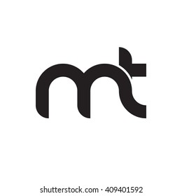 initial letter mt linked round lowercase monogram logo black