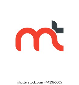 initial letter mt linked round lowercase logo red