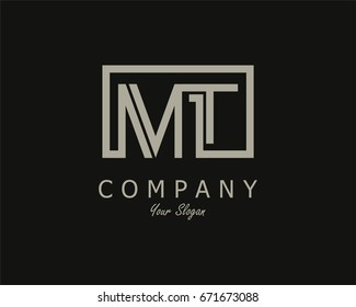 Initial Letter MT Logo Design Template With Box