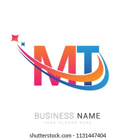 initial letter MT logotype company name colored orange, red and blue swoosh star design. vector logo for business and company identity.