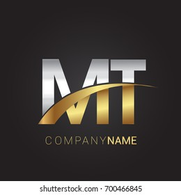 initial letter MT logotype company name colored gold and silver swoosh design. isolated on black background.