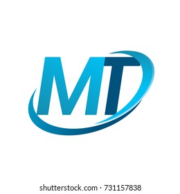 initial letter MT logotype company name colored blue swoosh design concept. vector logo for business and company identity.
