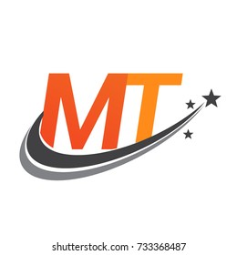 initial letter MT logotype company name colored orange and grey swoosh star design. vector logo for business and company identity.
