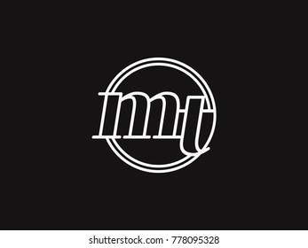 Initial letter mt lowercase outline inside the circle logo template white on black background