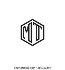 Initial letter MT, minimalist line art monogram hexagon logo, black color