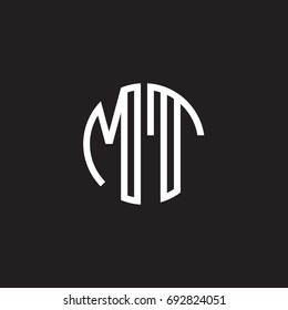 Initial letter MT, minimalist line art monogram circle shape logo, white color on black background