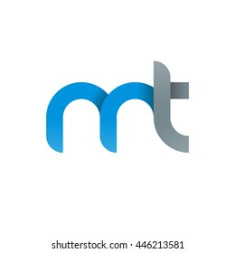 initial letter mt modern linked circle round lowercase logo blue gray