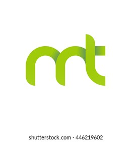 initial letter mt modern linked circle round lowercase logo green
