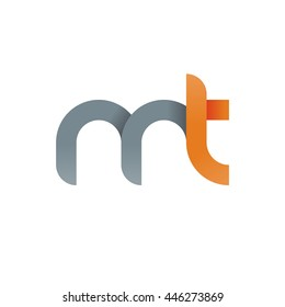 initial letter mt modern linked circle round lowercase logo orange gray