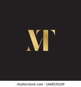 Initial letter mt uppercase modern logo design template elements. Gold letter Isolated on black  background. Suitable for business, consulting group company.