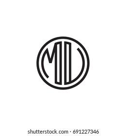 Initial letter MU, MV, minimalist line art monogram circle logo, black color