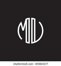 Initial letter MU, MV, minimalist line art monogram circle shape logo, white color on black background