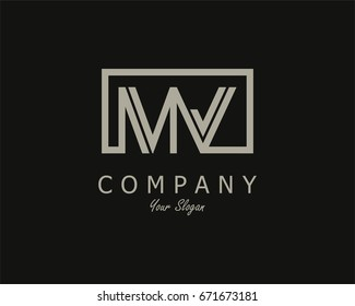 Initial Letter MV Logo Design Template With Box