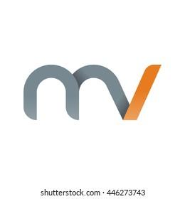 initial letter mv modern linked circle round lowercase logo orange gray