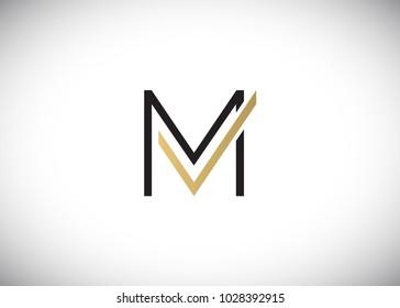 Initial Letter MV VM Logo