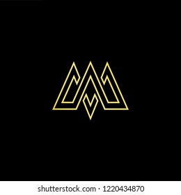 Initial letter MV VM minimalist art logo, gold color on black background.