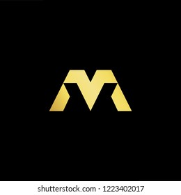 Initial letter MV VM MX XM minimalist art logo, gold color on black background.