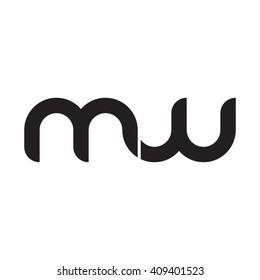 initial letter mw linked round lowercase monogram logo black