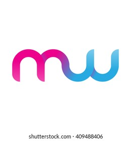 initial letter mw linked round lowercase logo pink blue purple