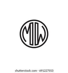 Initial letter MW, minimalist line art monogram circle logo, black color