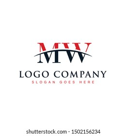 Initial letter MW, overlapping movement swoosh horizon logo company design inspiration in red and dark blue color vector