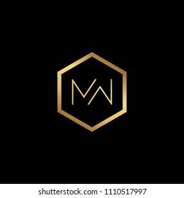 Initial letter MW WM  minimalist art hexagon shape logo, gold color on black background