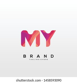 Initial letter MY logo with colorful background, letter combination logo design for creative industry, web, business and company. - Vector