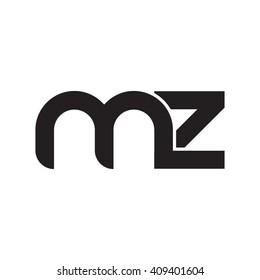 initial letter mz linked round lowercase monogram logo black
