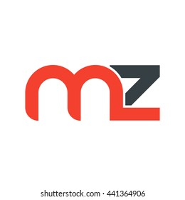 initial letter mz linked round lowercase logo red